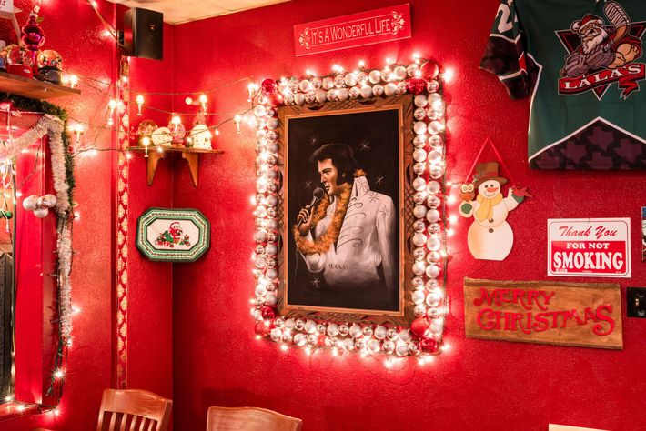 La La's Little Nugget Bar in Austin, Texas is well-known for its vivid, year-round Christmas decorations.