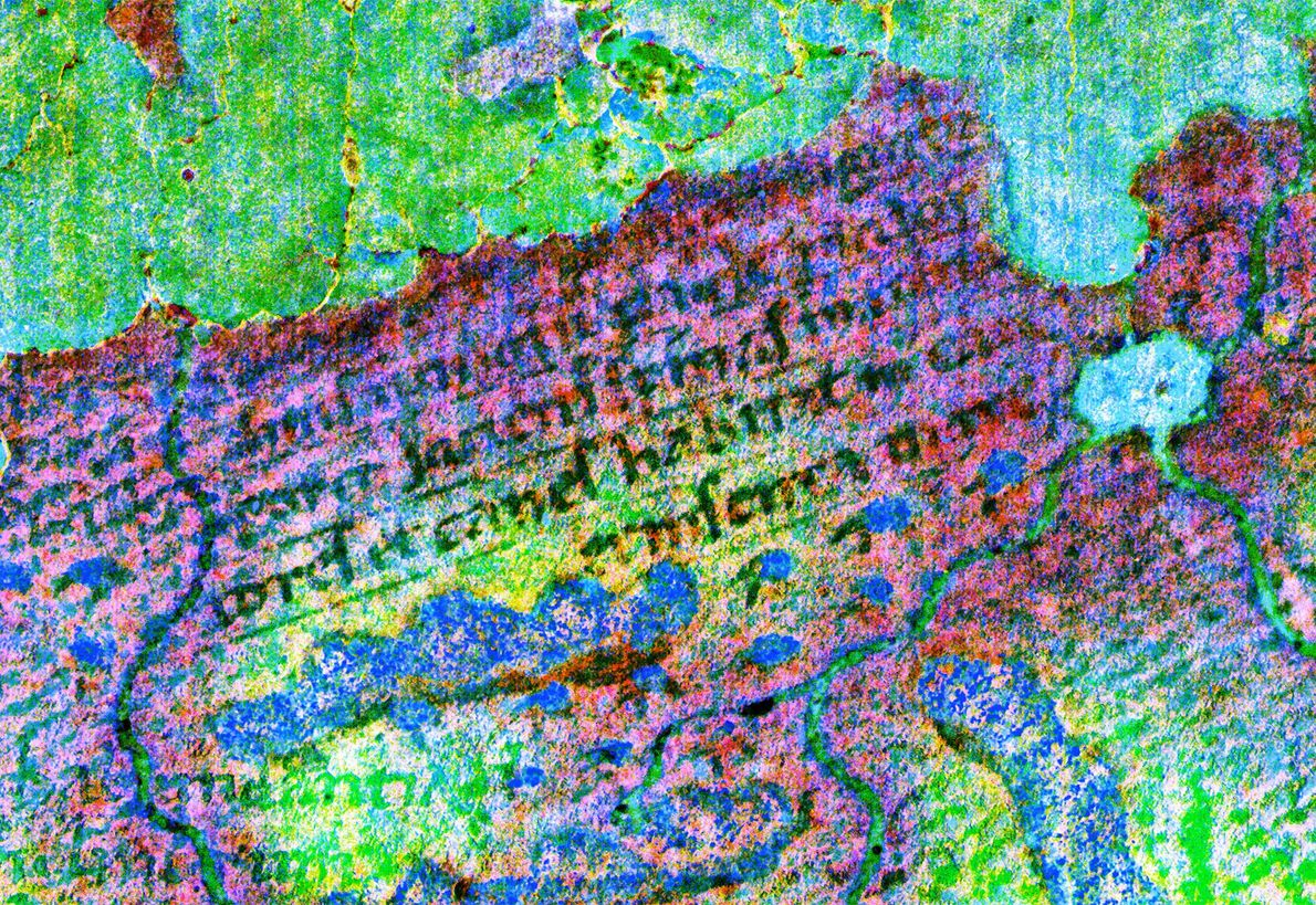 This fragment of text on the Martellus map, revealed by multispectral imaging, appears to describe a ...