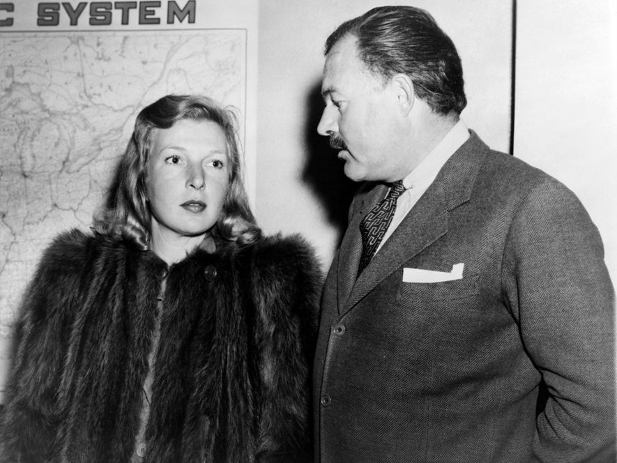 Journalist Martha Gellhorn and Ernest Hemingway travelling together shortly after their 1940 marriage. Gellhorn was a noted writer and war journalist in her own right.