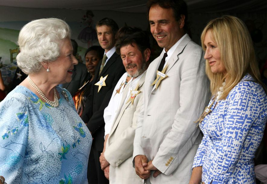 Queen Elizabeth II met J.K Rowling during the Children's Garden Party at Buckingham Palace in London.