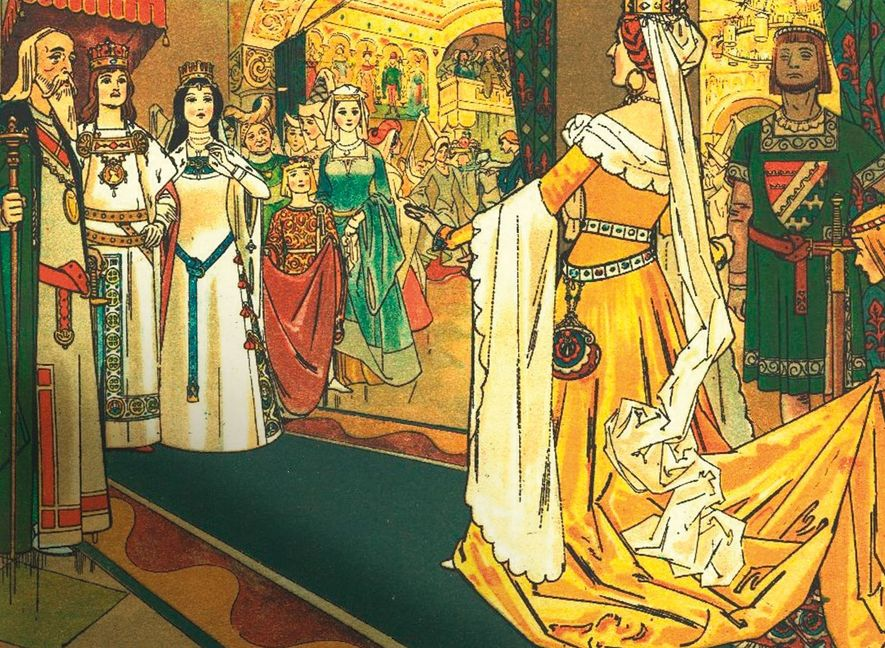 The Evil Queen is a guest at Snow White's wedding, as shown in a 1910 illustration ...