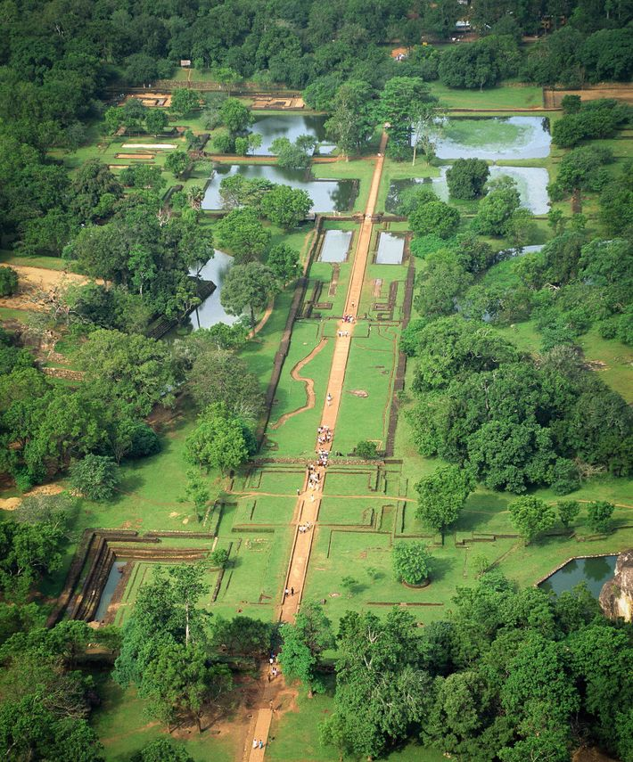 The design of the garden on the western esplanade at Sigiriya contrasts rigid rectilinear lines with ...