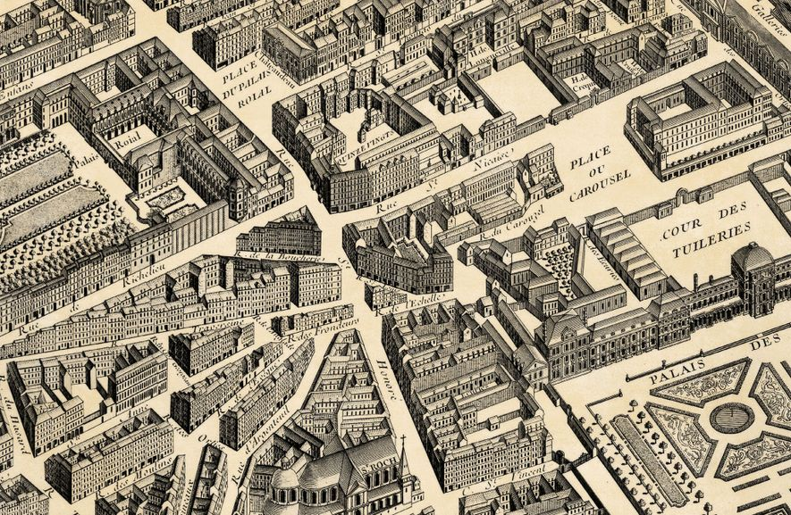 The street plan above, a detail from an 18th-century engraving of Paris, shows where the attack ...