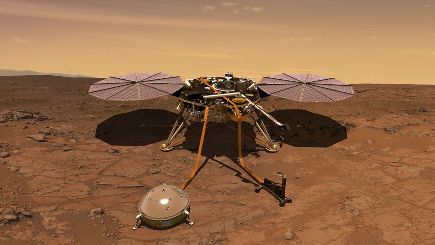 An illustration shows what the InSight spacecraft will look like once it lands on Mars.