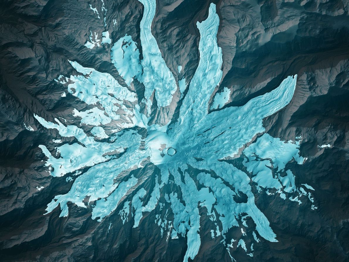 LIDAR outlines the precise edges of glaciers on Washington's Mount Rainier that can be hard to ...