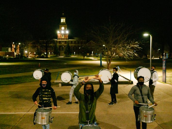 The Howard University Showtime March Band practices on campus the night before it escorted Kamala Harris, ...