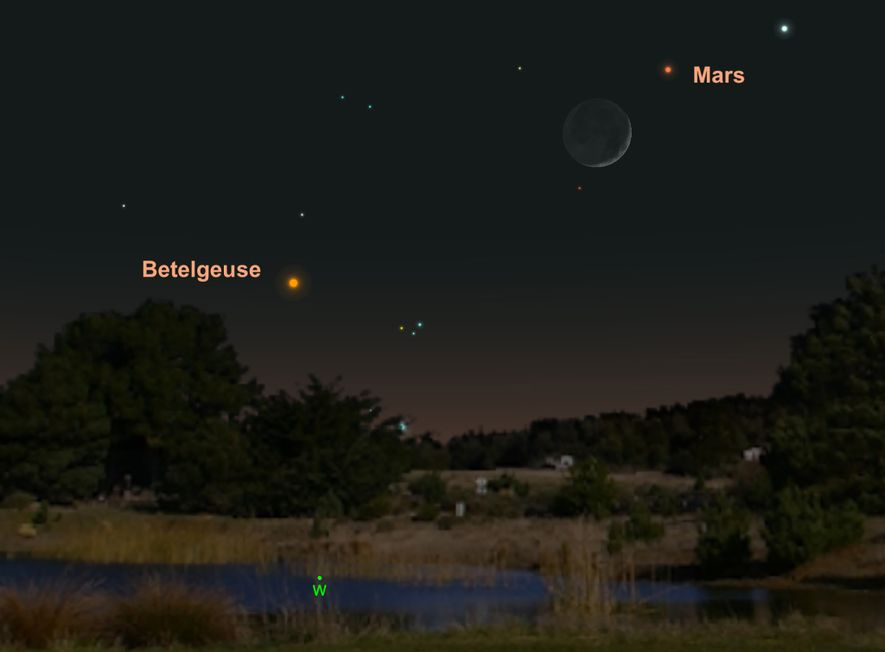 Mars will hang near the moon in western skies on May 7.