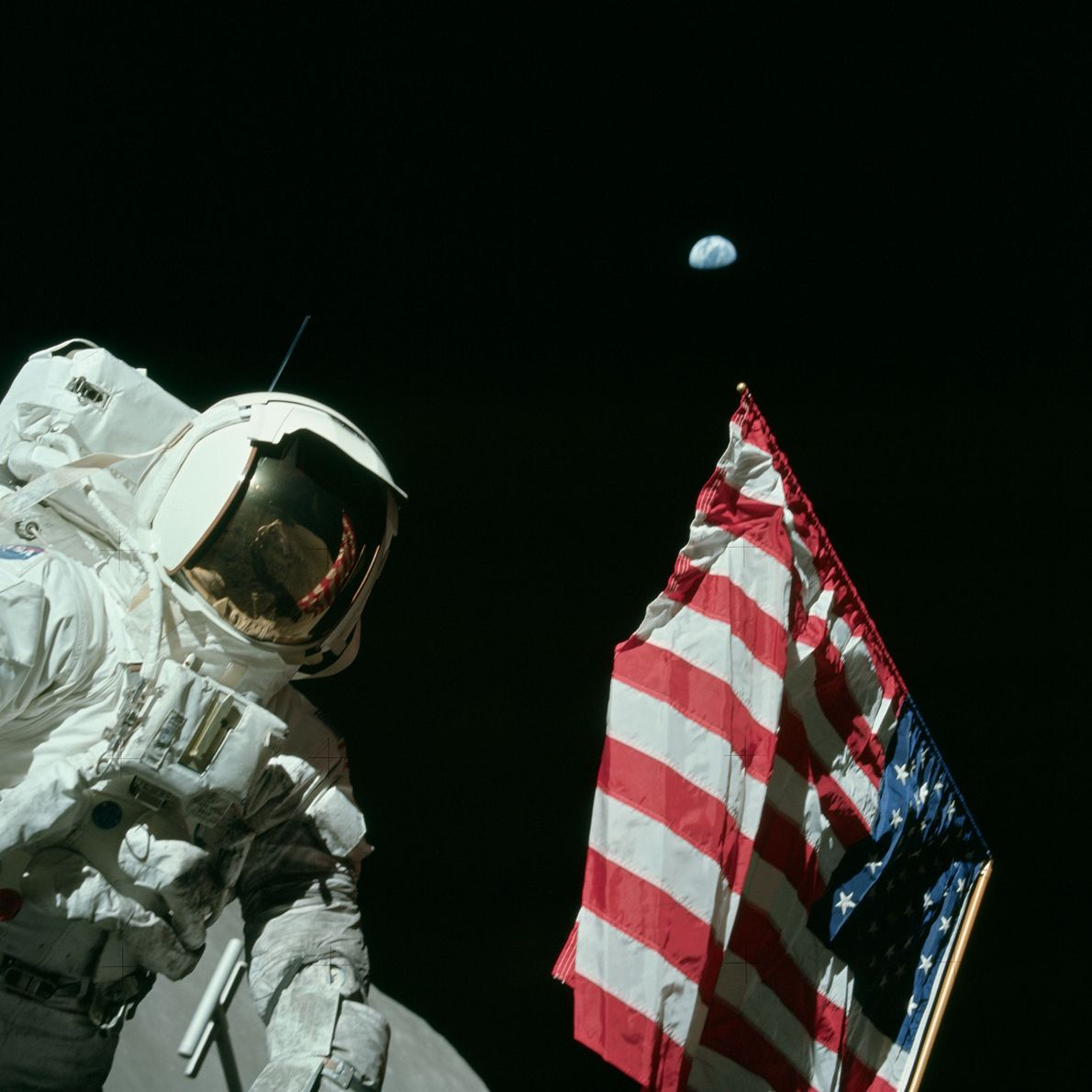 Apollo 17 astronaut Harrison Schmitt, the only Apollo astronaut who was also a professional scientist, stands ...