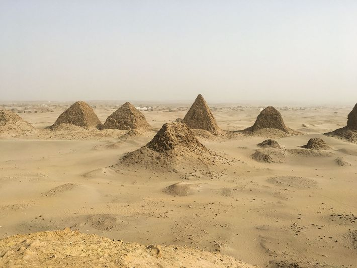 A view of the royal Nubian necropolis at Nuri, with the pyramid of King Siaspiqa (r. ...