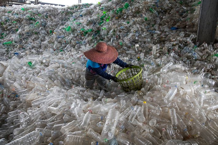 Plastic bottles fill a recycling facility in Valenzuela, Philippines.