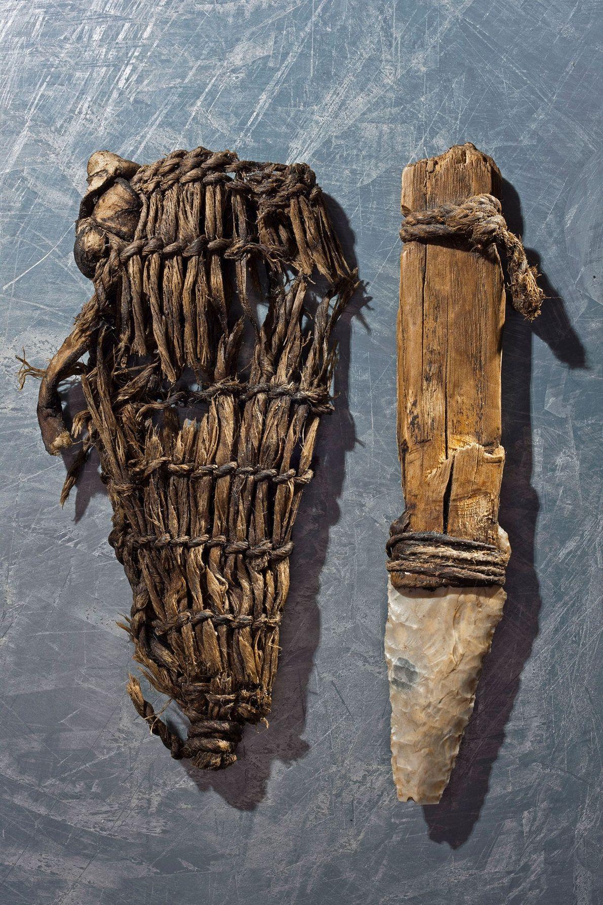The Iceman's dagger featured a flint blade and a grass sheath.