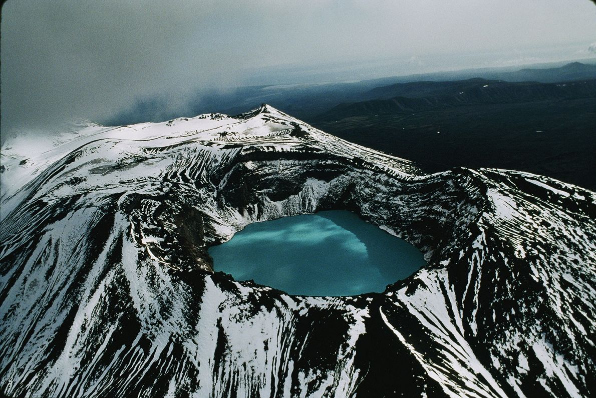 An aerial view shows a crater lake in one of the many volcanoes in Russia's Kamchatka …