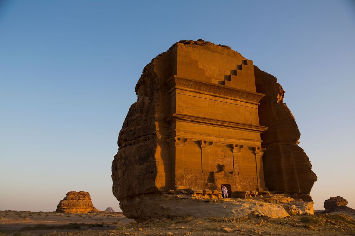 The tombs of Mada'in Saleh were carved into the sandstone mountains of the Arabian desert some ...