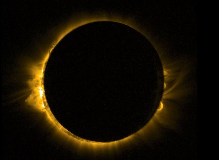 A European spacecraft took this picture of a solar eclipse seen from orbit in March 2015.