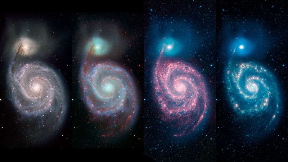 Depending on the wavelength used, you'll see different features of the Whirlpool galaxy. The left image, ...