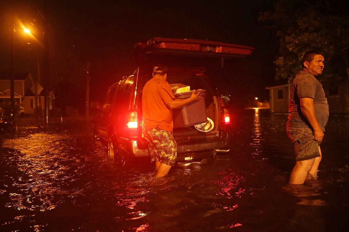 After the Neuse River overflowed and caused area flooding, these residents packed their belongings and evacuated ...