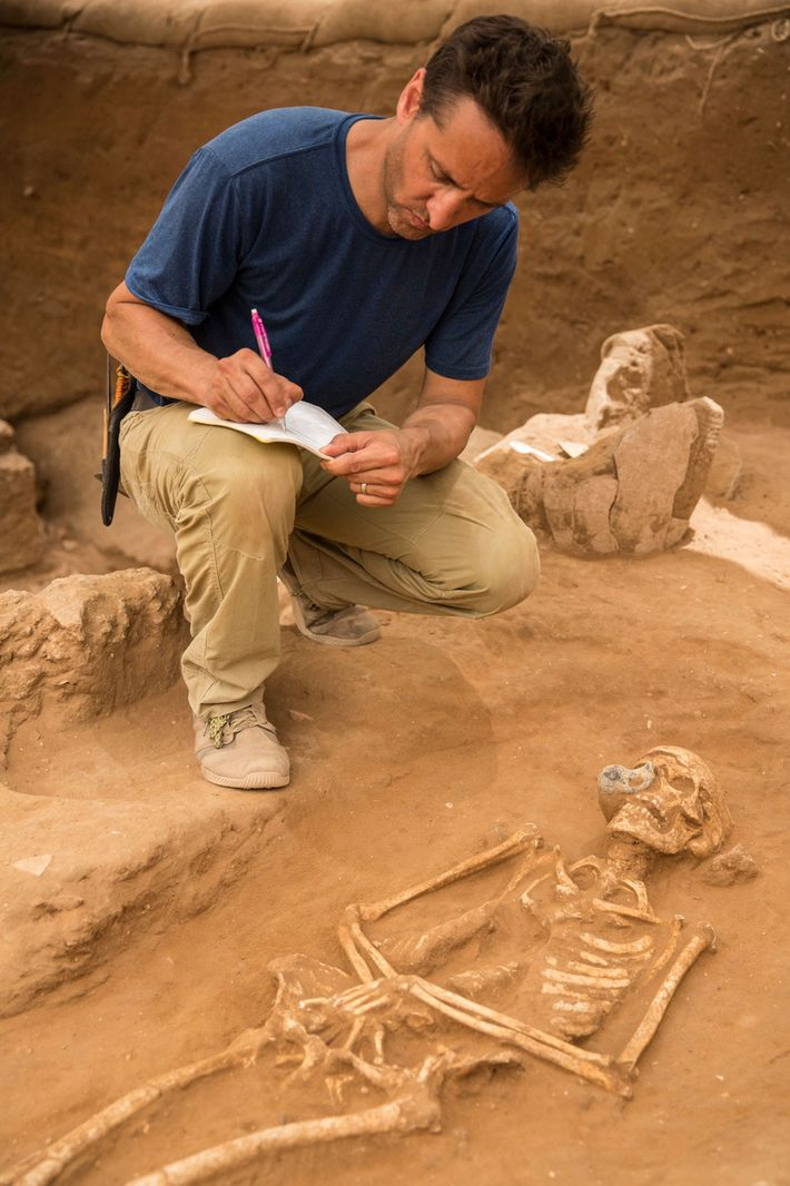 Assistant excavation director Adam Aja documents a burial in the first Philistine cemetery ever discovered, at ...