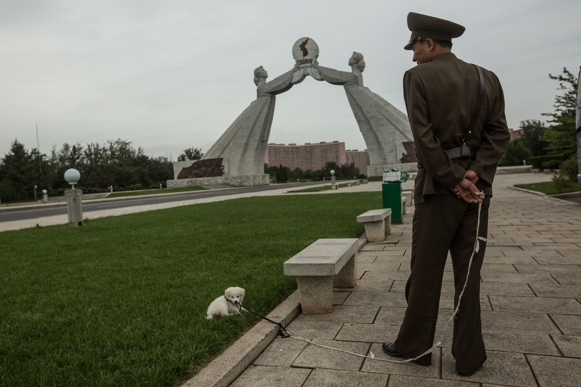 A soldier and pet dog near a statue calling for reunification of the Korean peninsula.