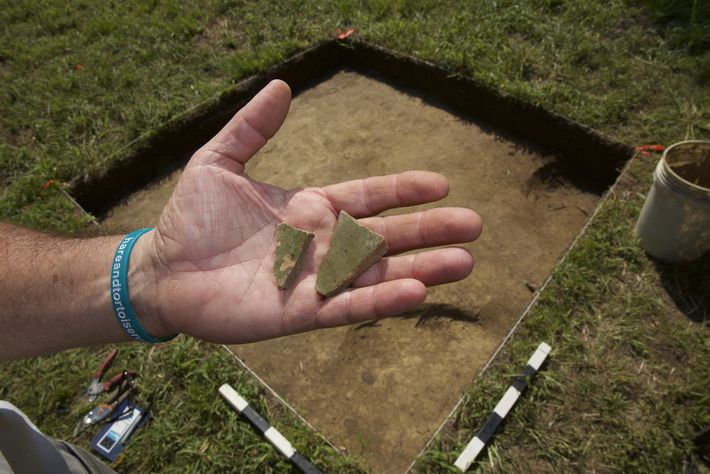 Pieces of English pottery called Border Ware recently found at a site near Edenton, North Carolina, ...