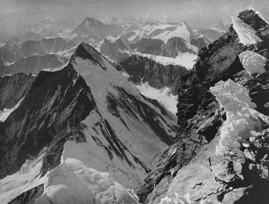 A view of Dent D'Herens and Mont Blanc near the summit of Matterhorn.