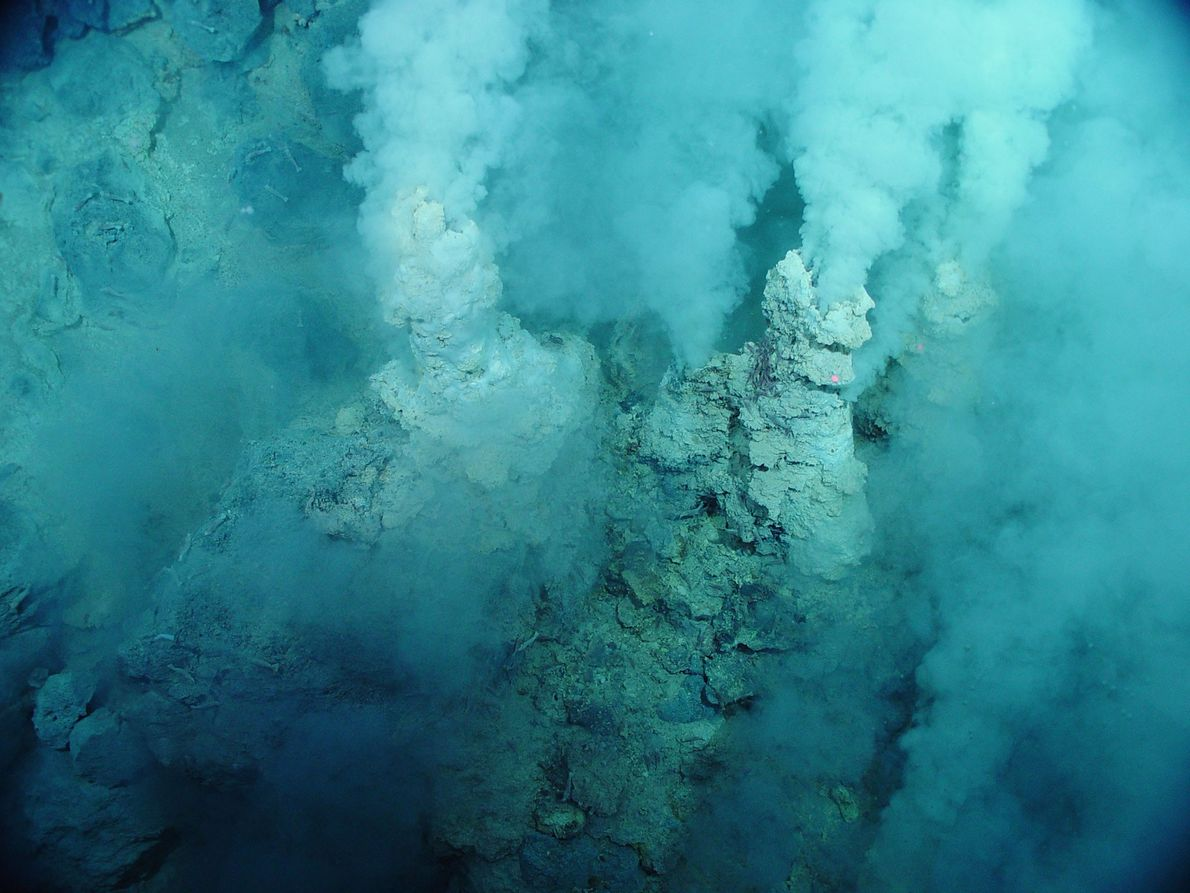 White water, which looks like smoke, spews out of small sulphur chimneys in the Western Pacific ...