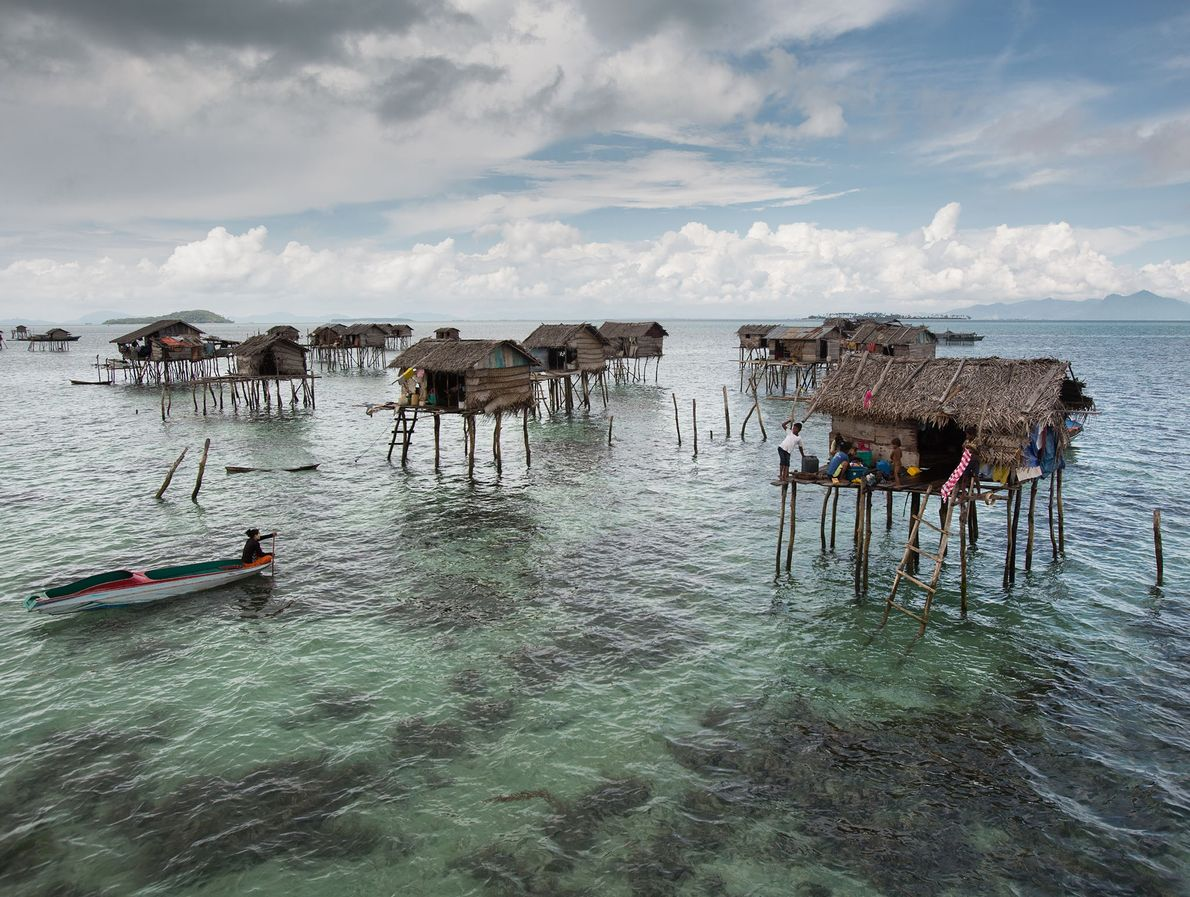 Bamboo stilt houses sit off Bodgaya Island.