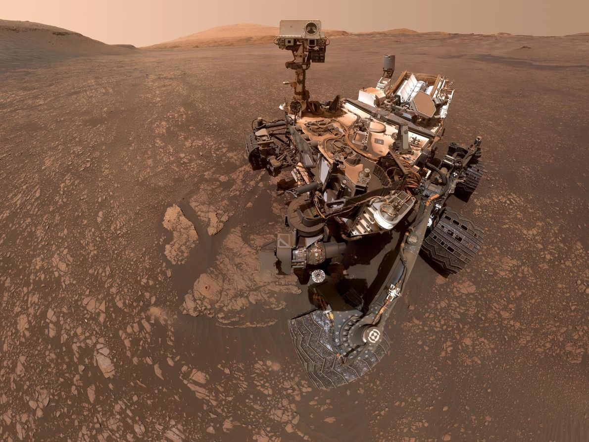 On May 12, the NASA Mars rover Curiosity took this selfie. The picture is a panorama ...