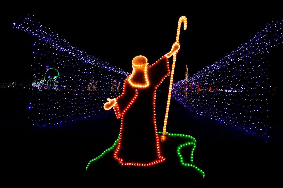 Moses parts the Red Sea in 2016 as part of the Santa's Ranch Christmas Display in ...