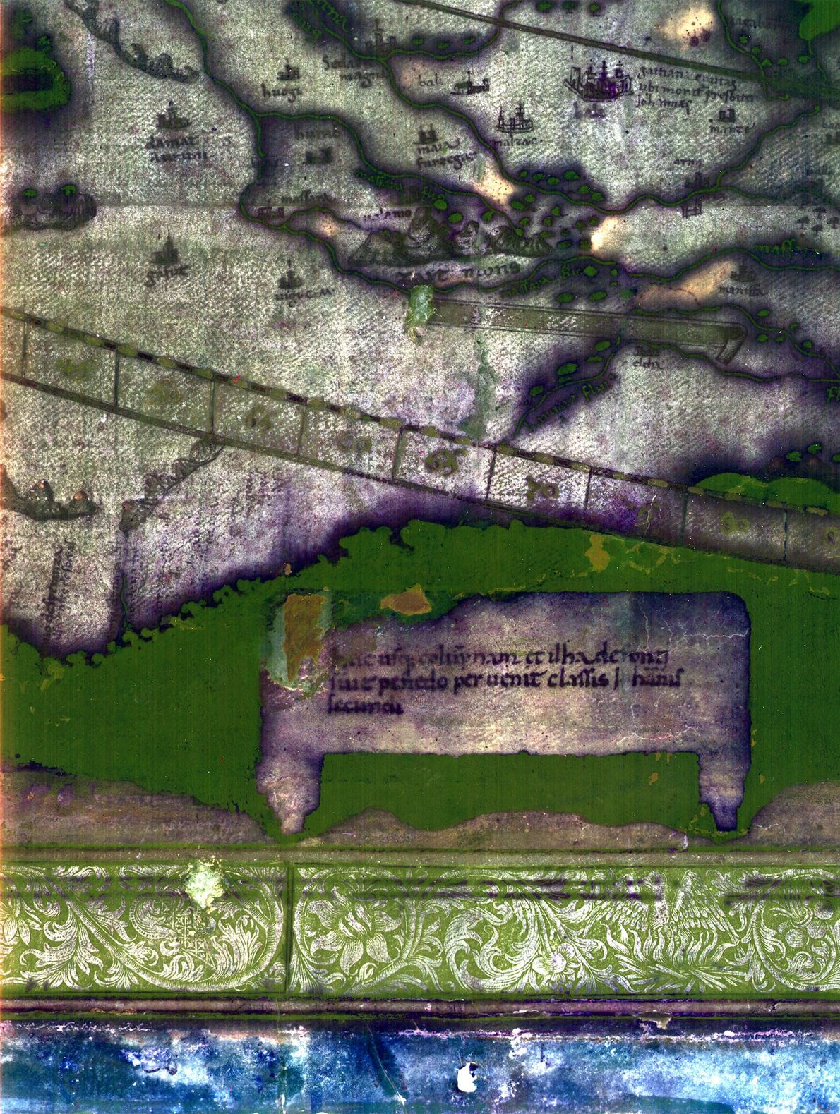 Multispectral imaging revealed remarkable detail about the rivers, mountains, and cities of southern Africa on Martellus's ...