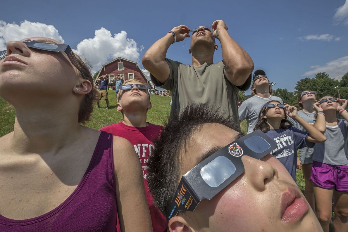 People gather to watch the eclipse in Dillard, Georgia.