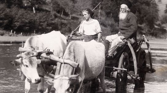 A country priest and his daughter head home together from a Romanian market.