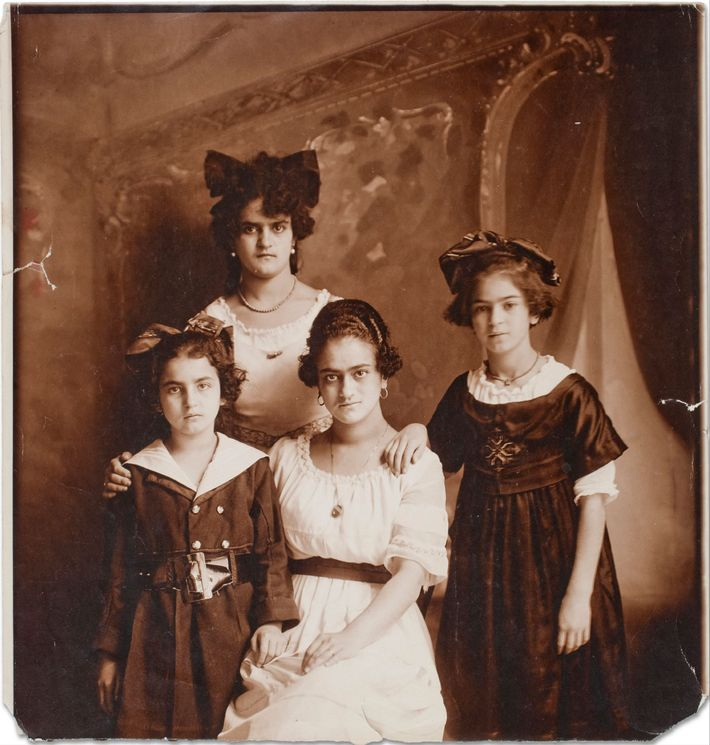 A photograph of Frida Kahlo, right, with her mother, Matilde, and two sisters, Cristina and Adriana.