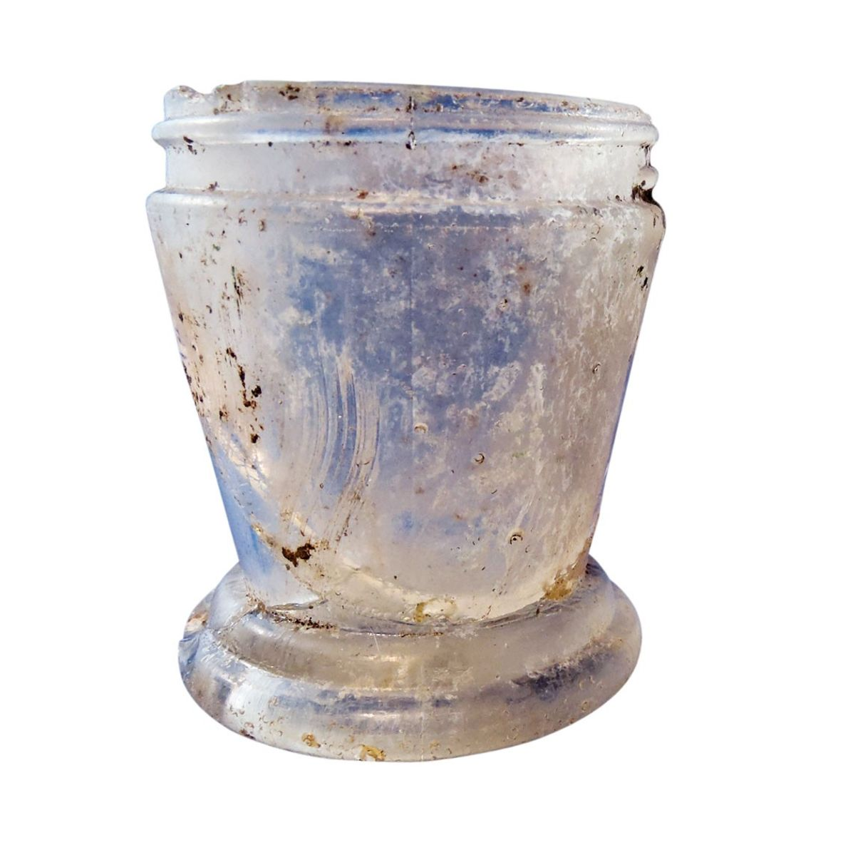 Glass jar believed to have held freckle cream.