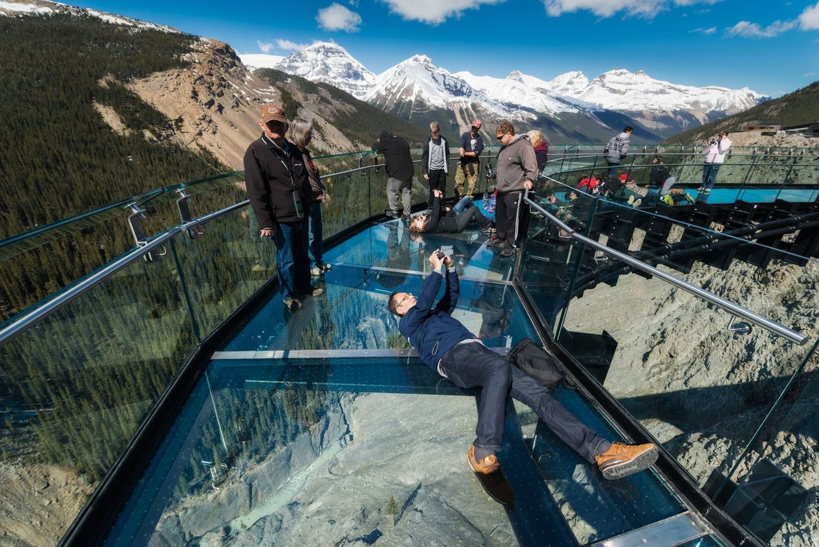 Glacier Sky Walk provides epic views at Icefields Parkway in Banff National Park.