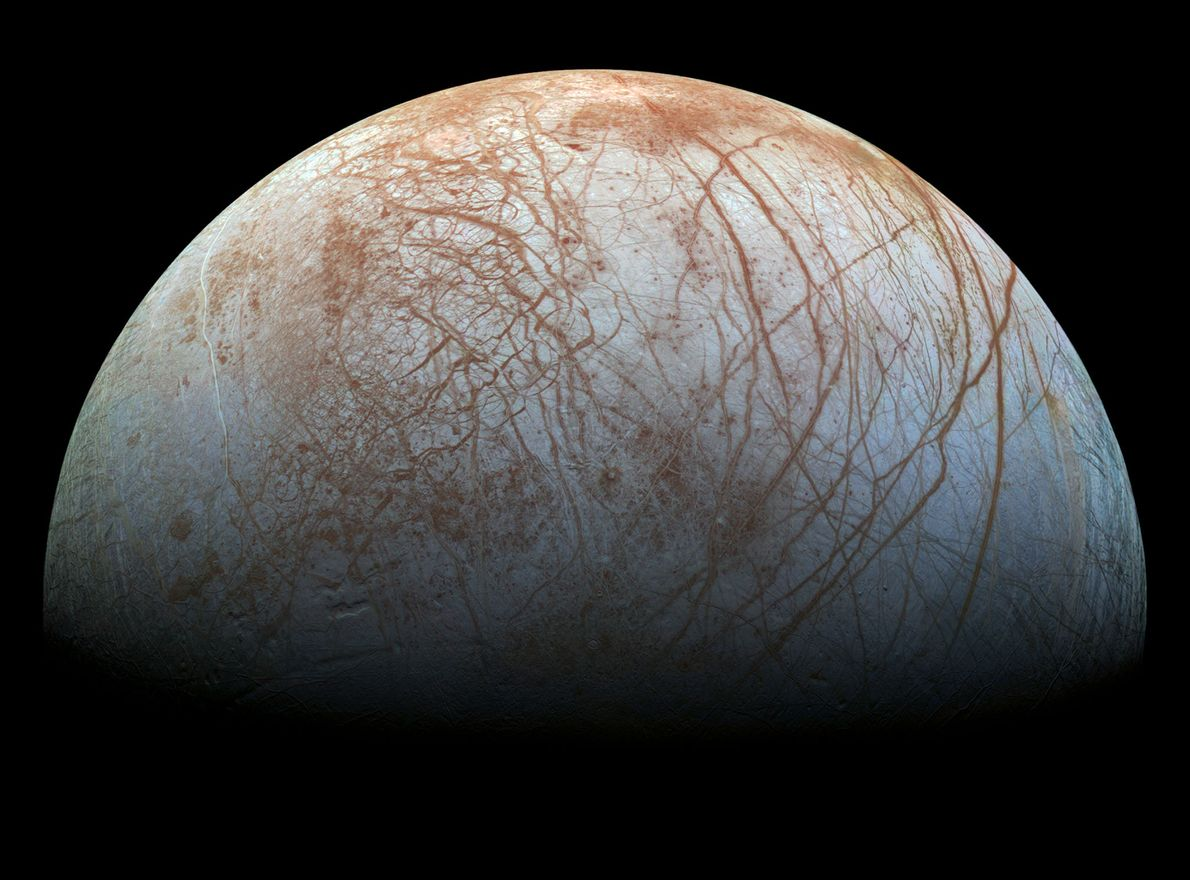 The moon Europa is covered with intriguing fissures that hint at a deep ocean beneath the ...
