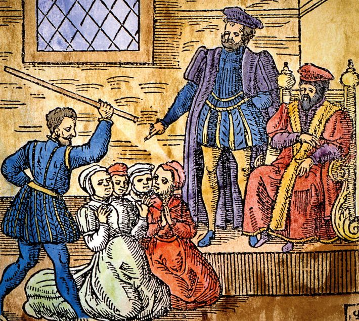 King James VI of Scotland (seated, right) supervising the torture of witches in Edinburgh, detail of ...