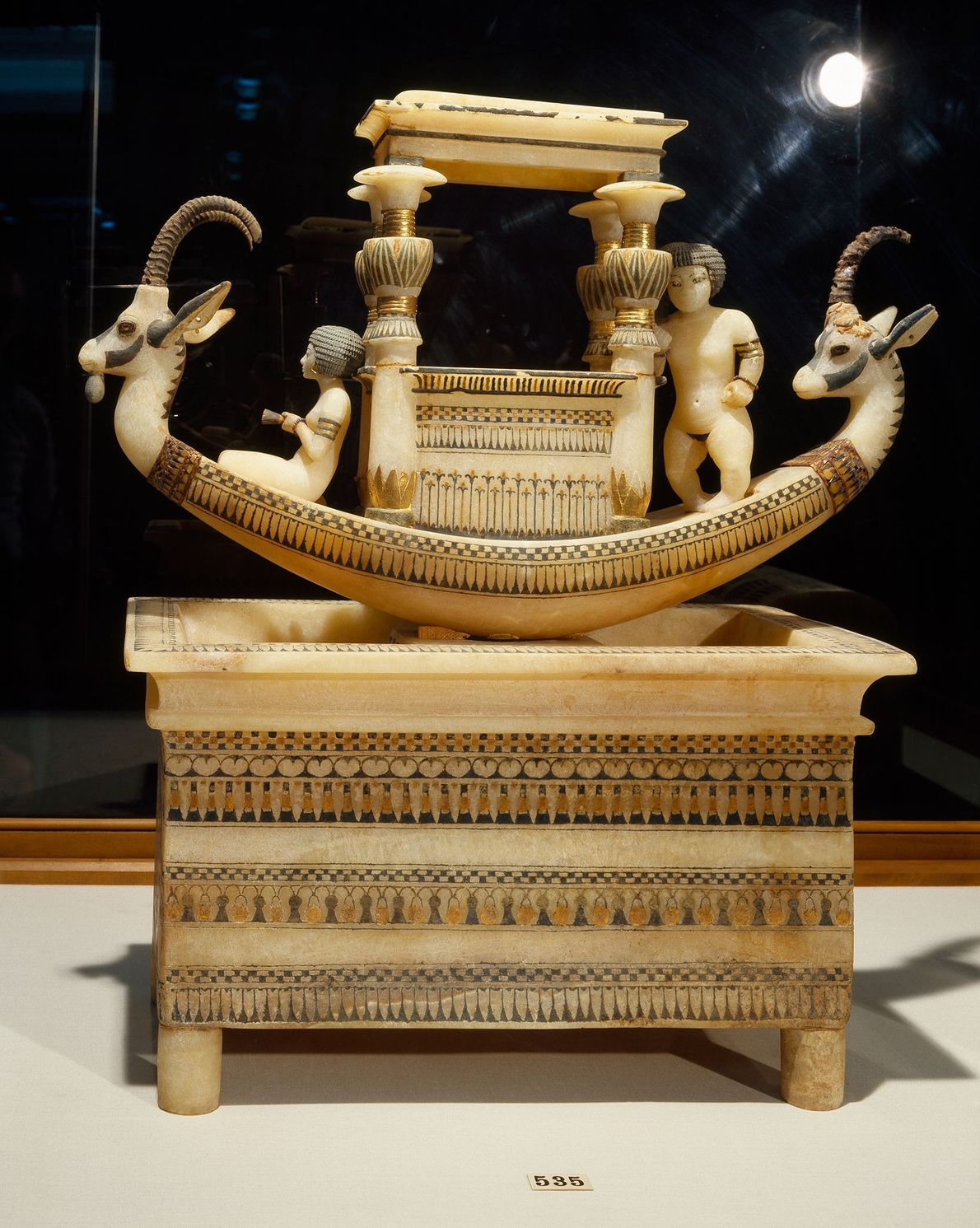 This decorative boat was buried with pharaoh Tutankhamen.