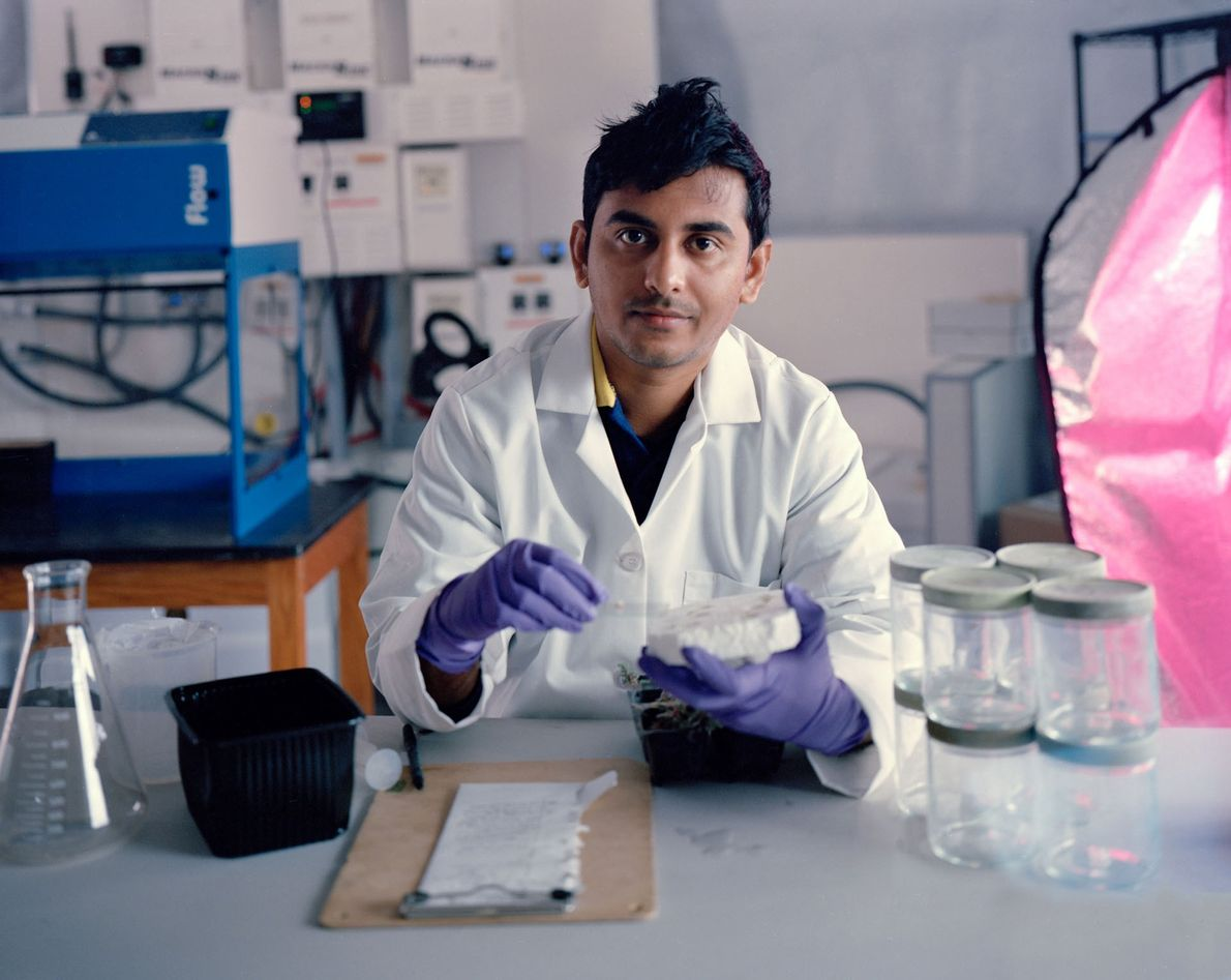 Mars Desert Research Station Crew 181 scientist Avishek Ghosh examines bacteria grown in the simulated Mars ...