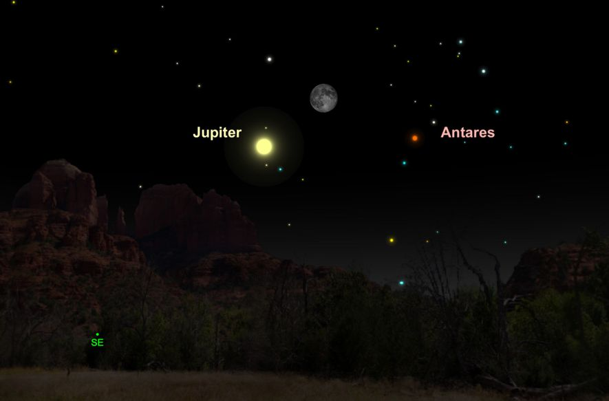 Brilliant Jupiter will pair with the waning gibbous moon on May 20.