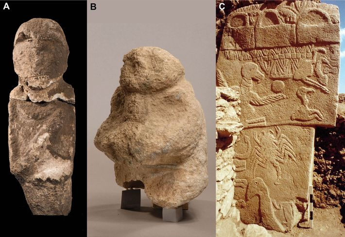 Finds at Göbekli Tepe that suggest a focus on human heads include, from left: an intentionally ...