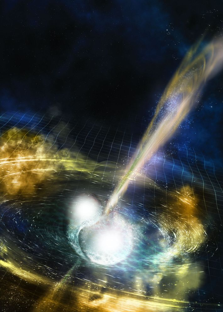 The fabric of spacetime distorts as two neutron stars spiral in toward their demise in an ...