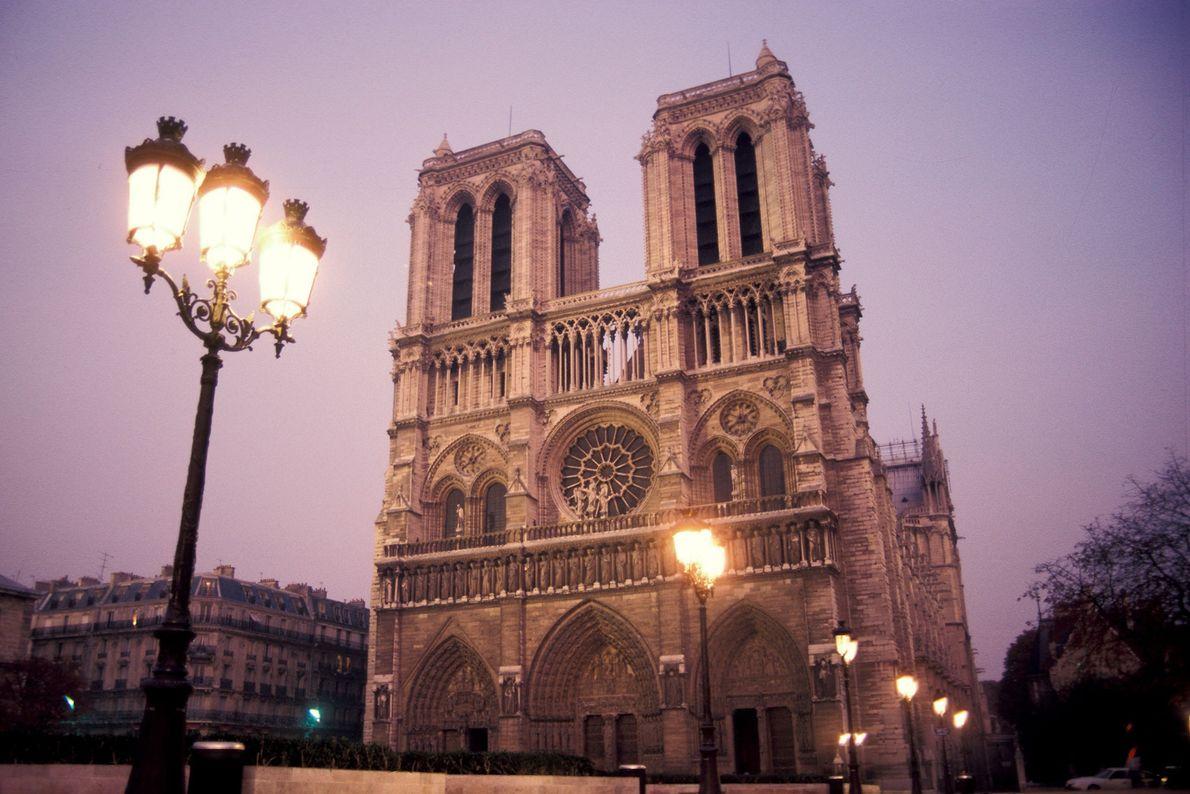 A street lamp illuminates Notre Dame at dusk.