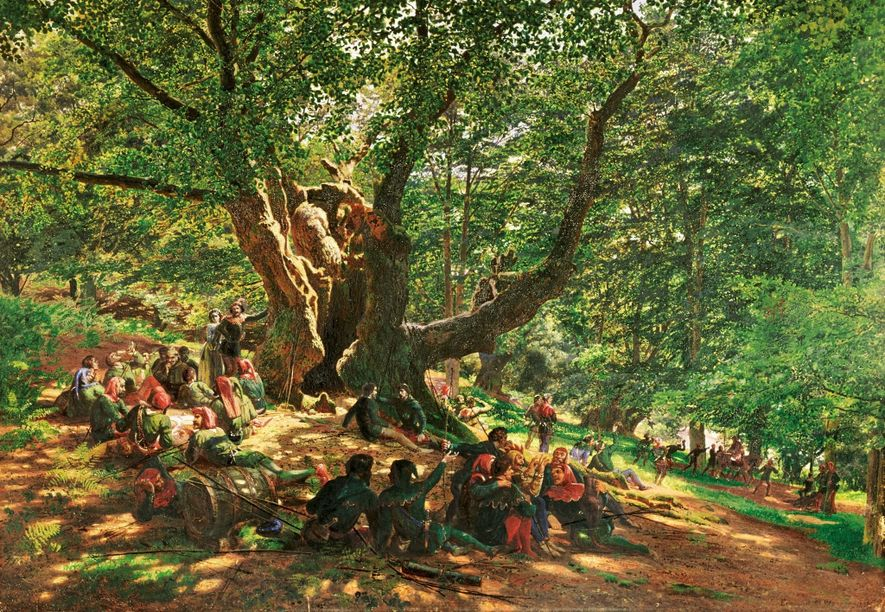 English painter Edmund George Warren's 1859 painting of Robin Hood and his Merry Men in Sherwood ...