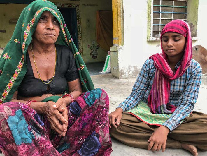 "Jagannabai Meena, 55, and her daughter Pooja, 18, live in Roundhpura, a sandstone mining ""widow's village."" ..."