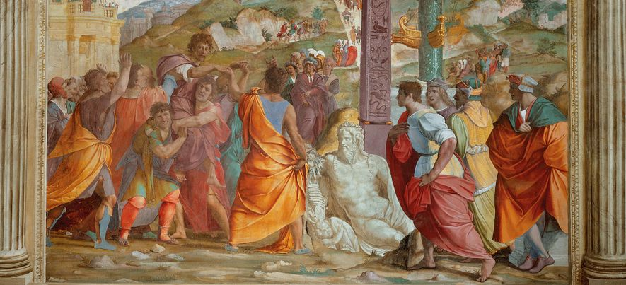 After a brief exile, Cicero returned to Rome in 57 B.C., an event depicted by Francesco di Cristofano in a vibrant painting that adorns a Medici villa in the town of Poggio a Caiano, Italy.