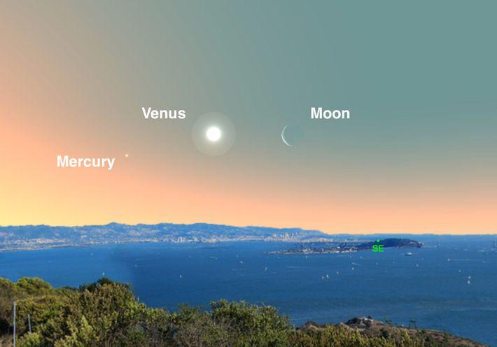 Look for brilliant Venus near the crescent moon near dawn on April 2.
