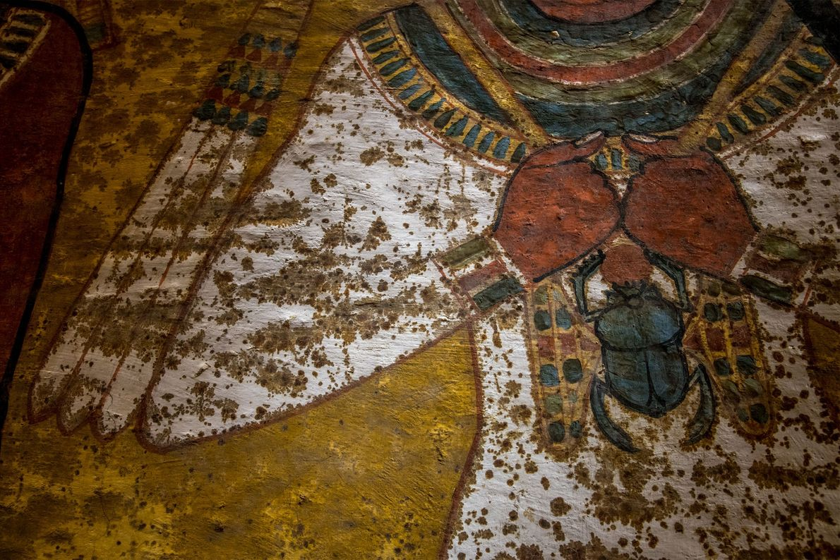 On a section of the north wall, paint was applied directly to the bedrock in upper ...