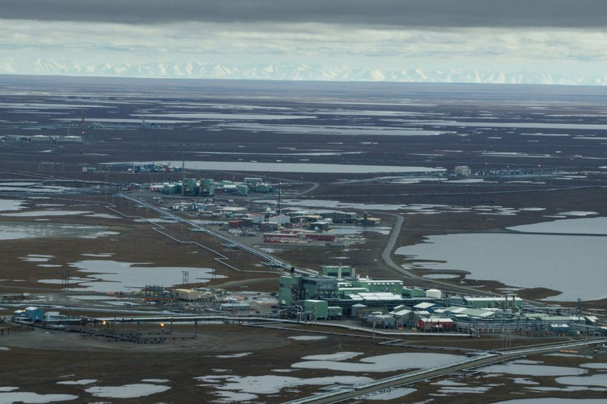 The Prudhoe Bay oil field, west of the Arctic refuge, shows what oil production looks like ...