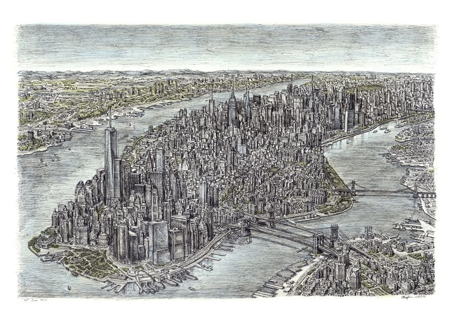 Wiltshire drew this picture of the Manhatten skyline after taking a 20-minute helicopter ride.