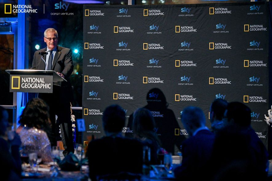 National Geographic Society president Mike Ulica speaks at the Ocean Plastics Innovation Challenge ceremony in Washington ...